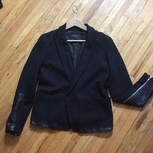 Theory cashmere and leather blazer size 6